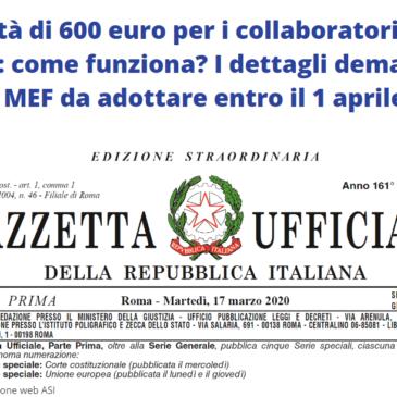 Coronavirus: indennità 600 euro ai collaboratori sportivi
