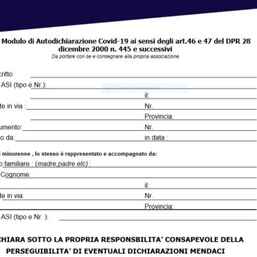modulo Autodichiarazione tesserati COVID -19